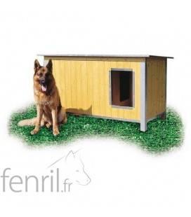 Niche bois isolée toit incliné pour chien